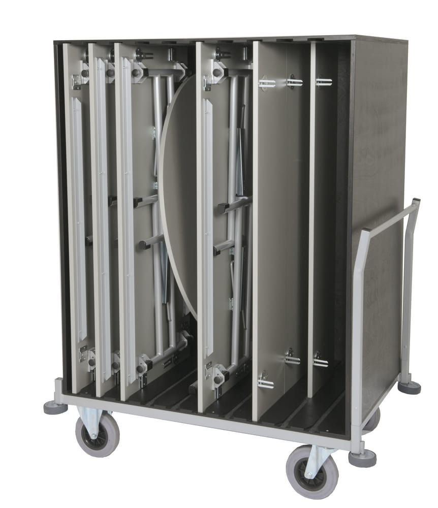 Trolley for vertical tables